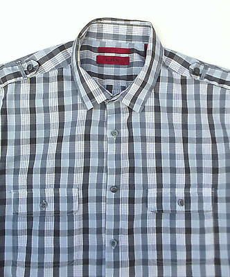 Mens blue fitted shirt CHECK large cotton/polyester Short sleeve ALFANI large L